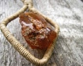 Honey Amber Linen Necklace, Raw Stone Pendant, Organic Natural, Eco Friendly