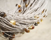 Natural Raw Amber Linen Necklace, Multi Strand Organic Jewelry, Earthy Color