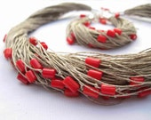 Red Coral Linen Necklace Bracelet Linen Jewelry Multi Strand Natural Fiber Summer Fashion