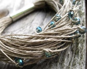 Sparkling Glass Linen Bracelet Elegant Teal Gray Green Blue Glitter Fiber Multistrand Beadwork Eco Friendly Cottage Chic