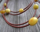 Multi Strand Leather Amber Necklace Organic Jewelry Earthy Color Brown Yellow Summer Fashion