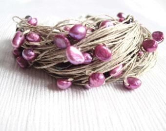 Natural Pearl Linen Bracelet Deep Puple Garnet Amethyst Lilac Fuschia Magenta Pink Gemini Junes Birthstone Summer Fashion Jewelry
