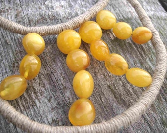 Amber Bib Necklace, Linen Bib Necklace, Wrapped Cord, Milky Yellow Amber, Statement Necklace