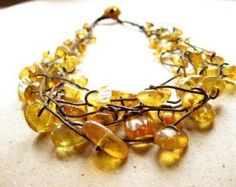 Baltic Amber Necklace - Natural Honey Amber Jewelry -  Sunny Yellow Bee Brown Cord - Multi Strand Necklace