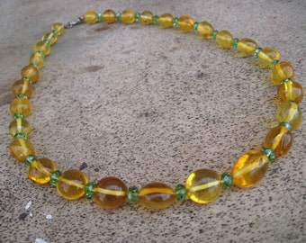 Natural Fresh Honey Amber Necklace Yellow Green Transparent Baltic Amber Jewelry Sunny Bright Gift for her Valentine's Day