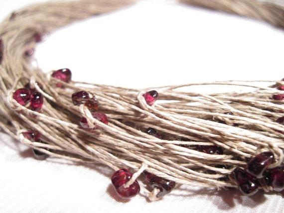 Natural Garnet  Linen Necklace