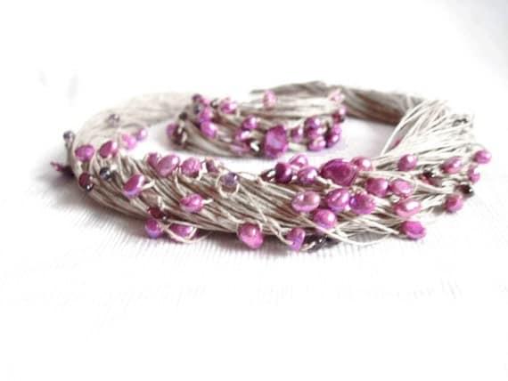 Natural Purple Pearls Necklace Garnet Amethyst Linen Multistrand Necklace Bracelet Set Midsummer Night's Dream