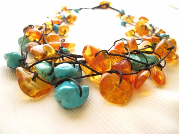 Honey Baltic Amber Turquoise Necklace Emerald Teal Honey Yellow