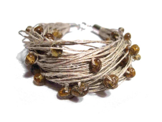Raw Amber Linen Bracelet, Natural Baltic Amber, Organic, Multi Strand