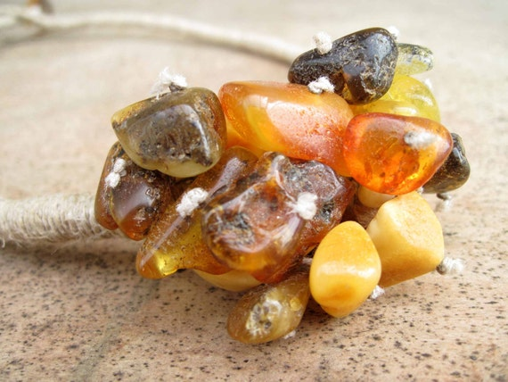 Raw Baltic Amber  Necklace Earthy Colors Cluster Rough Stone Linen Unpolished Yellow Orange Brown Warm Eco Summer Jewelry Fashion