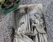 Vintage Godey's Fashion Steel Engraving Print, Taking Tea in the Arbor