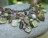 Green Statement Chunky Necklace with Czech Glass - Antique Copper - Triple Strand - Bohemian Style