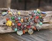 Multicolored Chunky Statement Necklace - Czech Glass - Triple Strand - Modern Bohemian Jewelry by YaY Jewelry