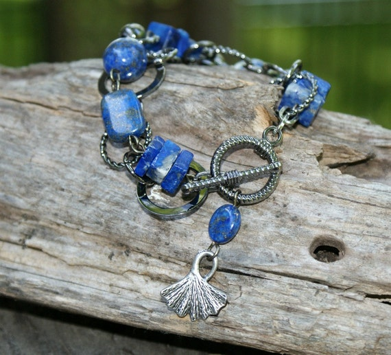 Lapis Chunky Bracelet - Ginko Leaf - Earthy Modern Jewelry by YaY Jewelry