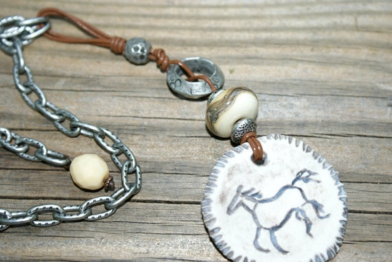 Rustic Necklace - Ceramic Horse - Lampwork & Leather - Earthy Rustic Jewelry by YaY Jewelry