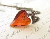 Red Heart Pendant, Swarovski Crystal, Wire Wrapped, Silver Chain, Romantic Jewelry, Holiday Gift