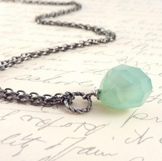Blue Stone Pendant, Chalcedony Necklace, Antiqued Silver Chain