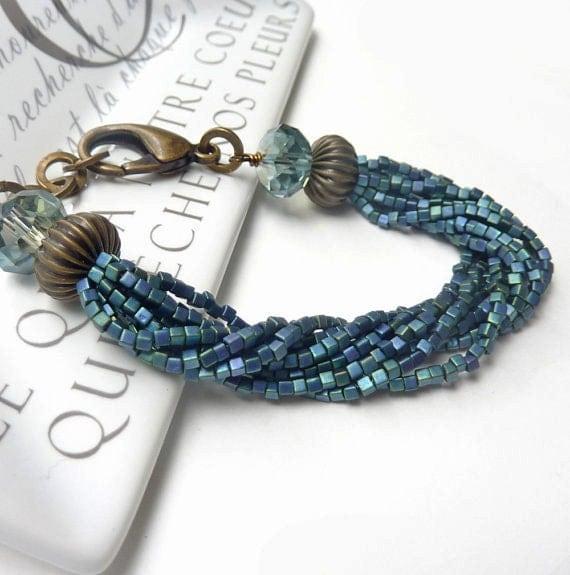 Blue Multi-Strand Bracelet, Peacock Indigo Blue Seed Bead, Funky Edgy