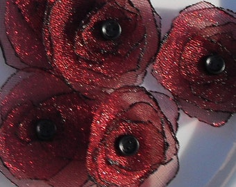 Red Sparkle Organza Flower Scrapbooking Embellishment (Five) with Black Brad