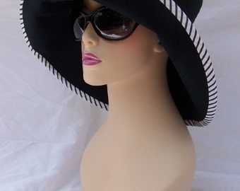 Summer Black Mad Hatter with Stripe Trim