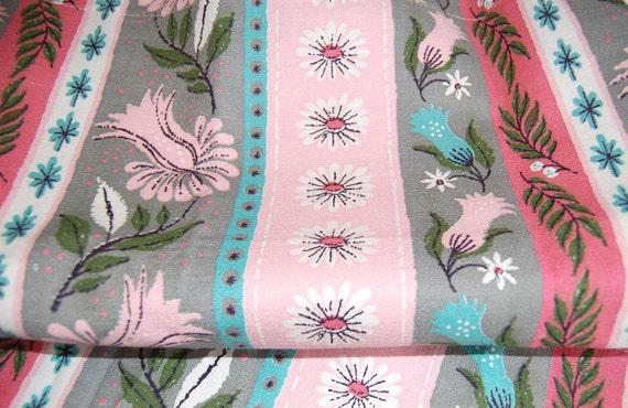 Vintage Barkcloth Curtains, Cafe Style, Pink Aqua Coral Grey, 1950s Retro, Floral, Quintessential Mid Century