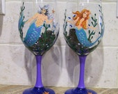 Mermaid Wine Glasses Male Female Hand Painted Set (Custom Order Only) Cocktail Candle Holder