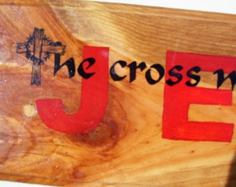 JESUS Plaque Hand Painted on Reclaimed Wood 2 Ft  Long