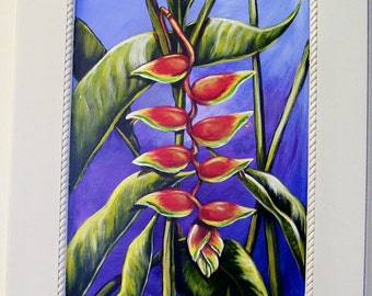 Tropical Lobster Claw Heliconia Plant Hand Painted on Reclaimed Cabinet Door Floral Still Life Painting