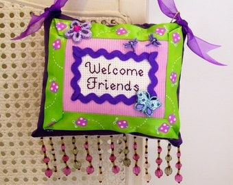 Welcome Friends Springtime Boutique Pillow made from Fabric Scraps