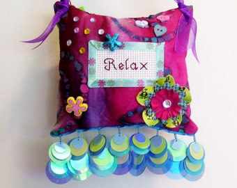 Relax Boutique Pillow Handmade From Fabric Scraps
