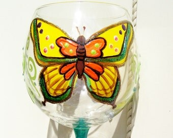 Yellow Butterfly Wine Goblet Glass Hand Painted