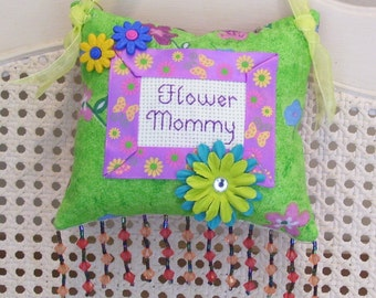 Flower Mommy Boutique Pillow Handmade from Fabric Scraps
