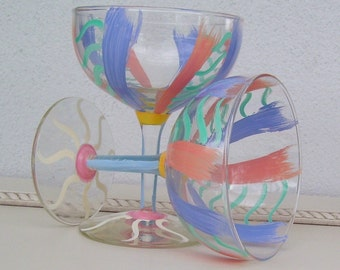 Vintage Summertime Party/Dessert Glasses Hand Painted
