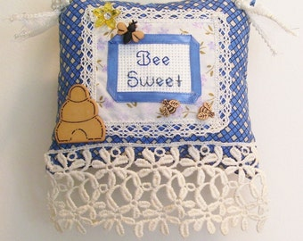 Bee Sweet Boutique Pillow Handmade from Fabric Scraps