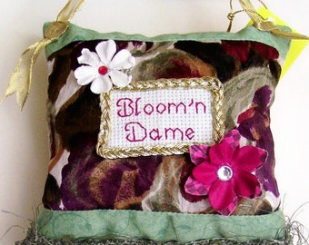 Bloom'n Dame Boutique Pillow Handmade from Recycled Fabric