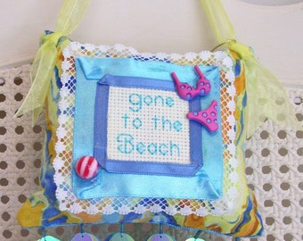 Gone to the Beach Boutique Pillow Handmade from Fabric Scraps