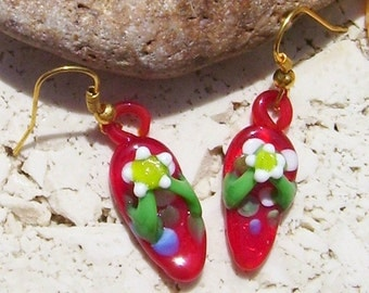 Red Glass Flip Flop Earrings Sandal Dangle Earrings