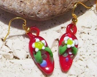 Red Glass Flip Flop Earrings Sandal Dangle Earrings