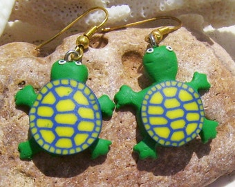 Green Turtle Earrings Fashioned from Polymer Clay