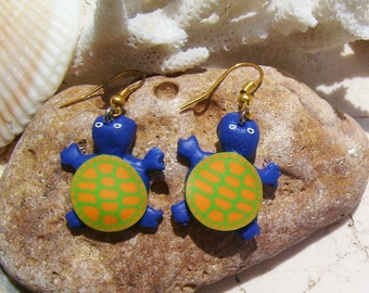 Blue Turtle Earrings Made From Polymer Clay