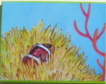 Tropical Clownfish Magnet  Tropical Fish Miniature Art