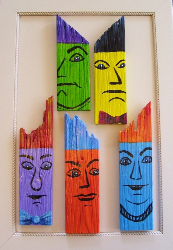 Men of Color Series, Purple Dude on Reclaimed Fence Board