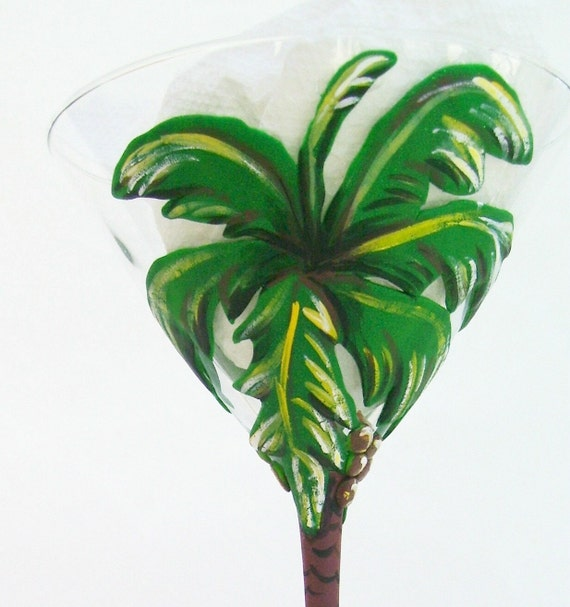 Coconut Palm Martini Glass Handcrafted with Fimo Clay Wine Cocktail