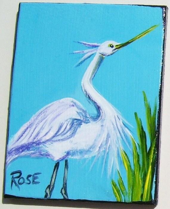 White Egret Magnet Hand Painted Miniature Art