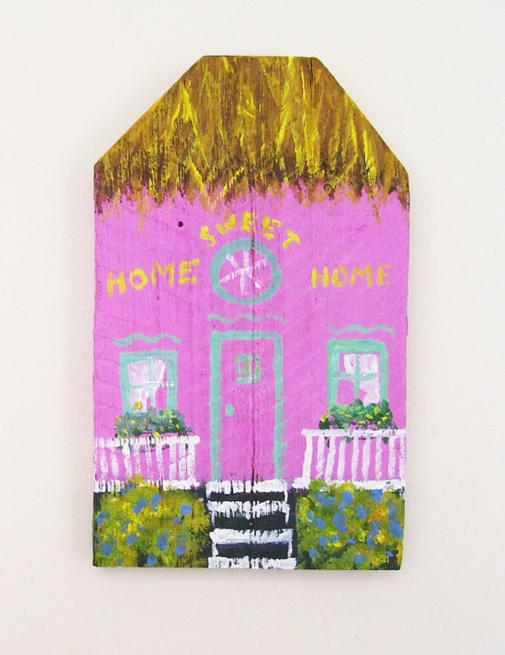 Pink Island House Hand Painted on a Reclaimed Fence Board Wood Plaque