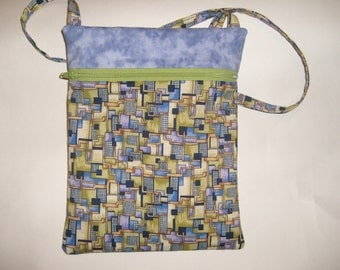 Shoulderbag/Projectbag with zipper, geometric,lavender