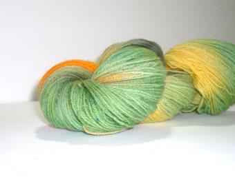 Hand dyed yarn, fingering weight, 440 yards, Merino wool, Marigold