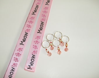 Giftset for Knitters, chart- and stitch markers, Meow