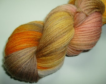 Hand dyed yarn, worsted weight, 220 yards, Peruvian Highland Wool,Sunny Side