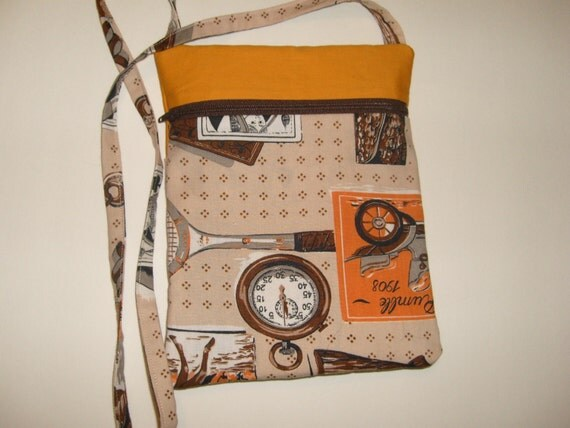 Shoulderbag/Projectbag with zipper, vintage fabrics,orange